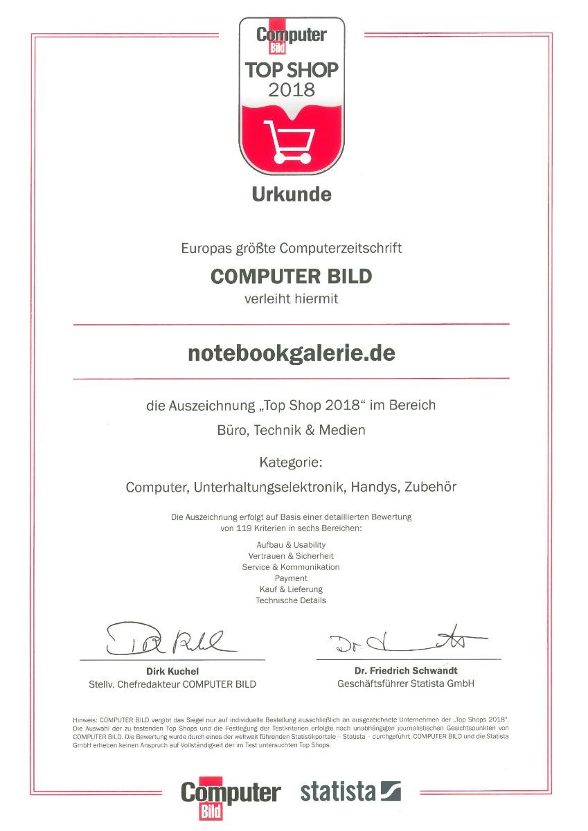 Urkunde über Verleihung des Top-Shop Status